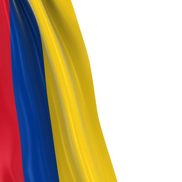 Hanging Flag of Colombia - 3D Render of the Colombian Flag Draped over white background stock photo
