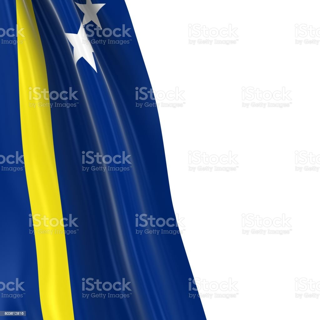 Hanging Flag of Curacao - 3D Render of the Curacaoan Flag Draped over white background stock photo