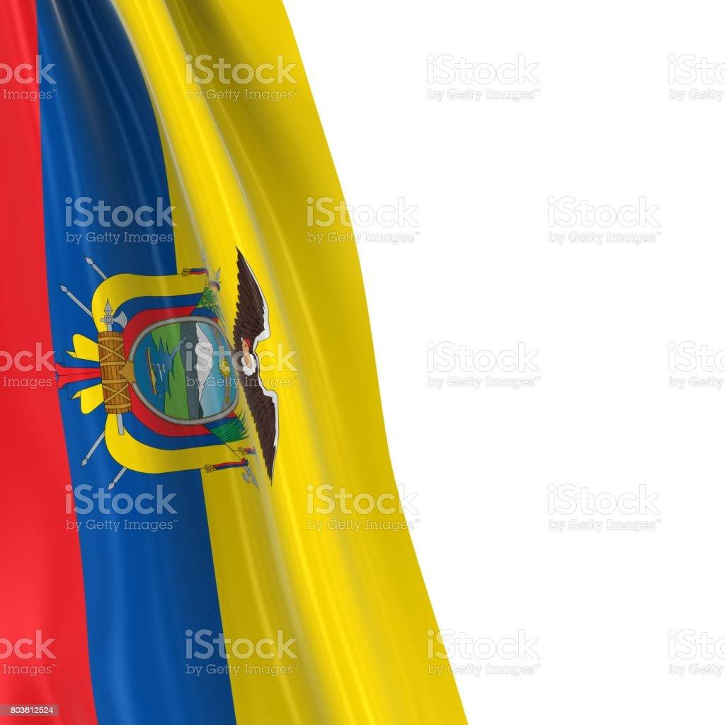 Hanging Flag of Ecuador - 3D Render of the Ecuadorian Flag Draped over white background stock photo
