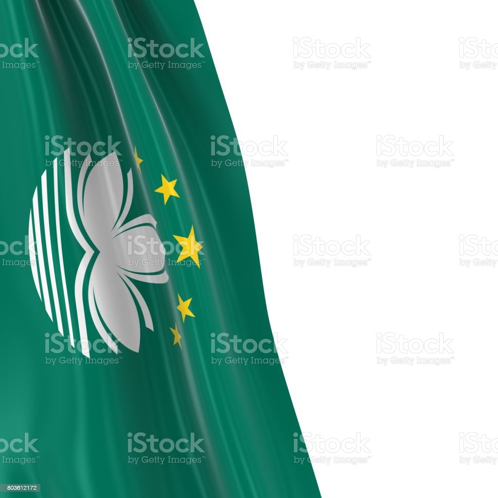 Hanging Flag of Macau - 3D Render of the Macanese Flag Draped over white background stock photo
