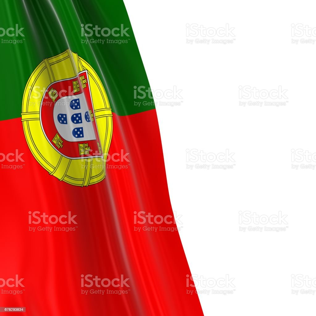Hanging Flag of Portugal - 3D Render of the Portuguese Flag Draped over white background with copyspace for text - fotografia de stock