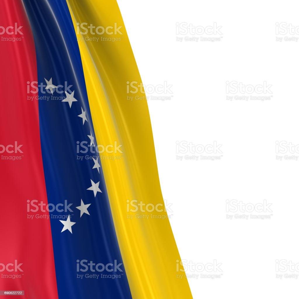 Colgar la bandera de Venezuela - 3D Render del vestido de bandera venezolana sobre fondo blanco - foto de stock