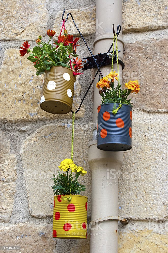 Hanging flowerpots made with cans. stock photo