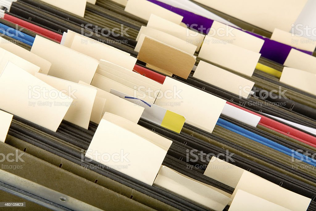 Hanging Folder and label stock photo