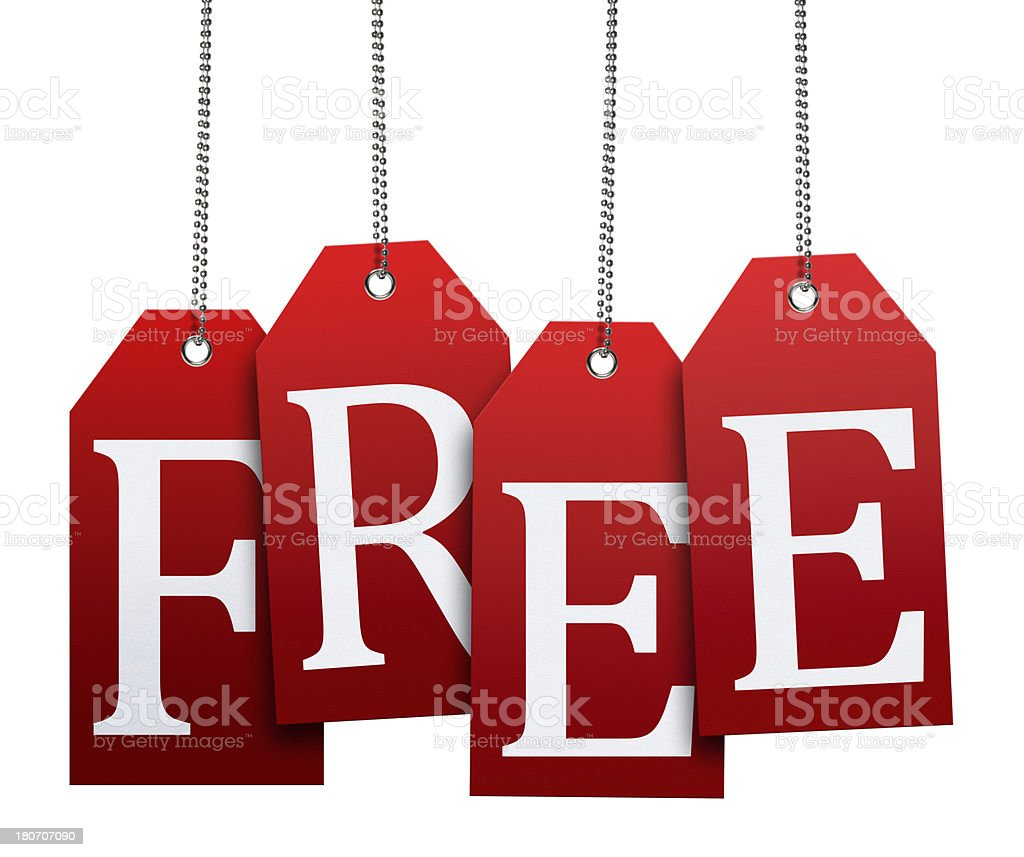 Hanging Free Tags (Clipping Path) royalty-free stock photo