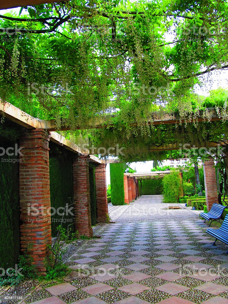 Hanging gardens with stone path stock photo