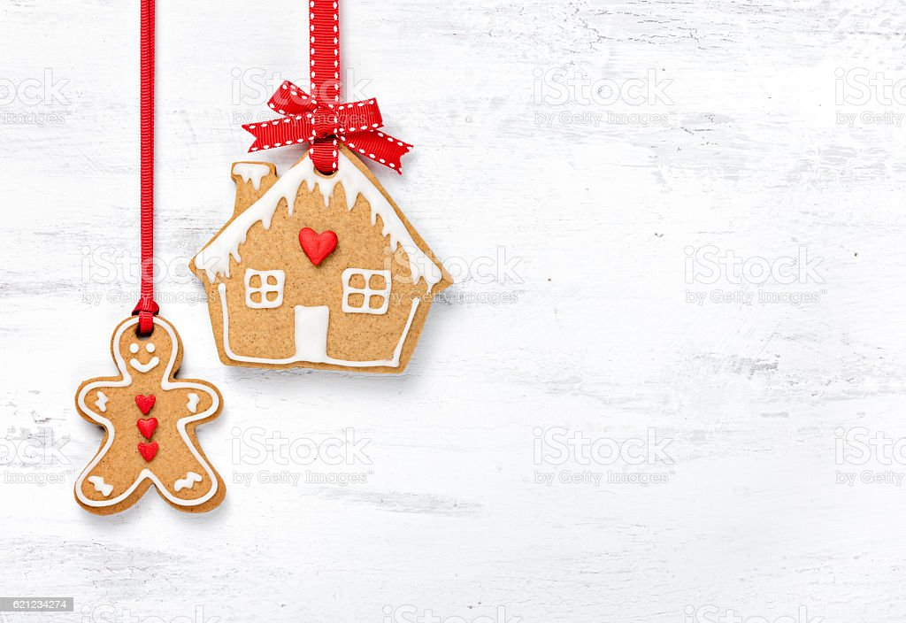 Hanging Gingerbread Man and House Cookies stock photo