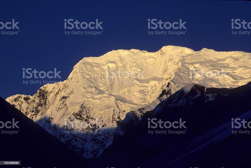 Hanging glaciers on Dome Blan royalty-free stock photo