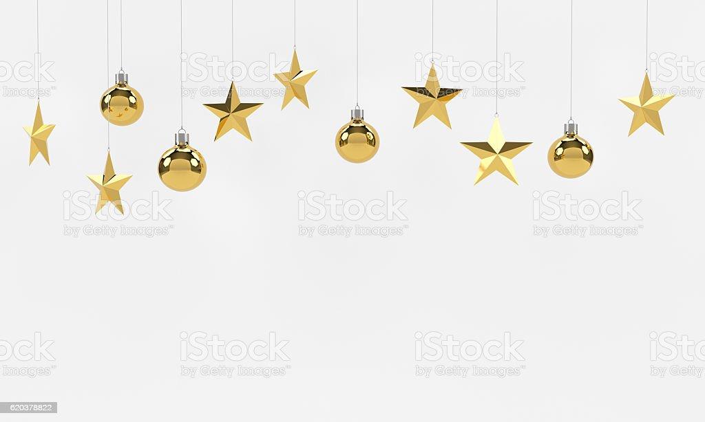 Hanging golden balls and stars ornaments. zbiór zdjęć royalty-free