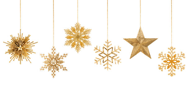 Hanging Golden Christmas Ornaments: Star and Snowflakes stock photo