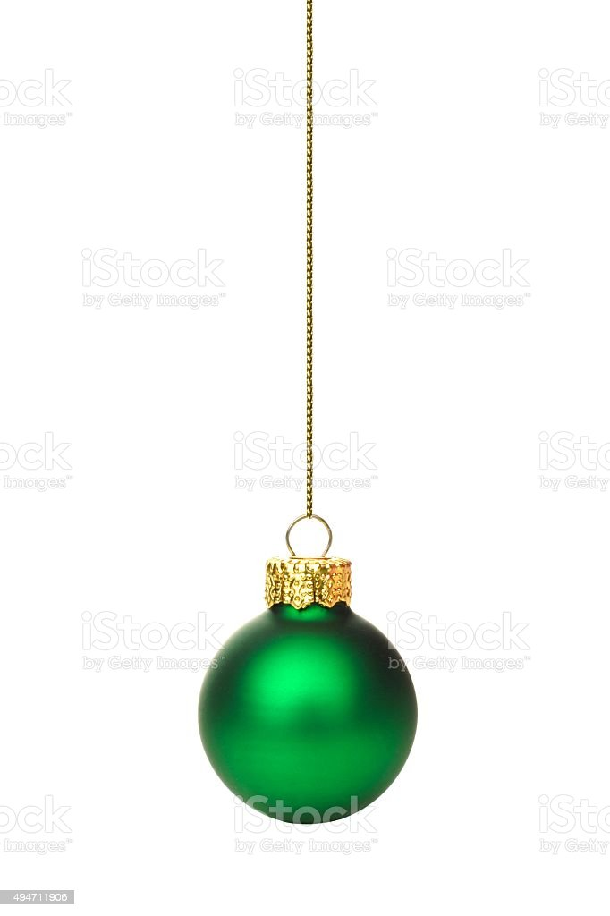 Hanging green Christmas ornament over white stock photo