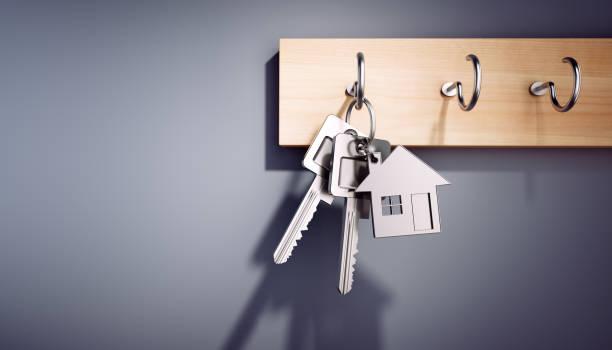 Hanging House Keys with Keyring stock photo