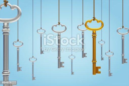 Hanging skeleton keys on light blue background.