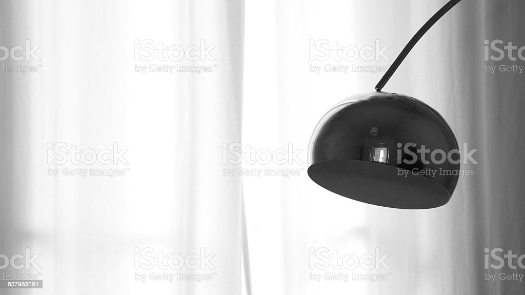 Hanging lamp with curtain background stock photo