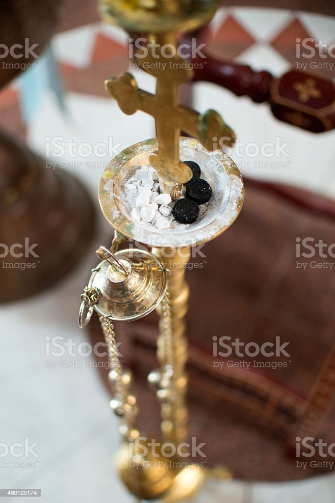 Hanging lamp with incense stock photo