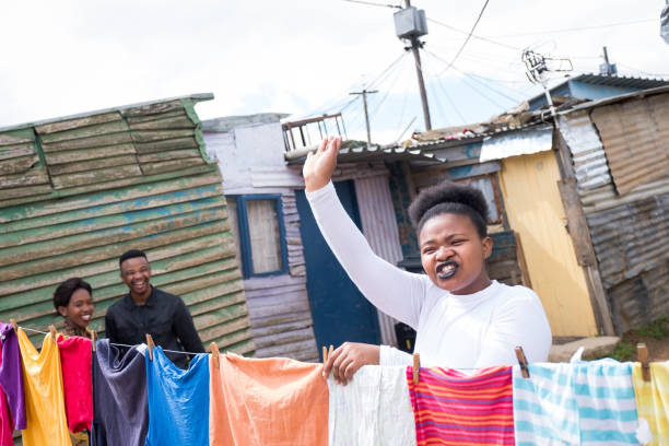 Hanging laundry in the townships stock photo