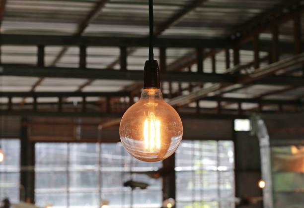 Hanging Light bulb. stock photo