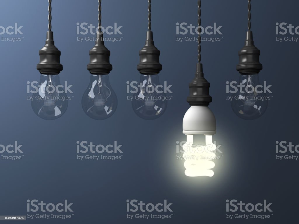 Hanging Light Bulbs - 3D Rendering stock photo
