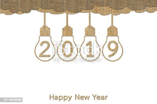 istock hanging lightbulb on sky with numbers isolated on white for Happy New Year 2019 1074959986