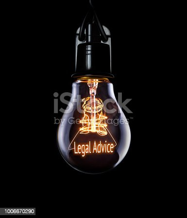 istock Hanging lightbulb with glowing Legal Advice concept. 1006670290
