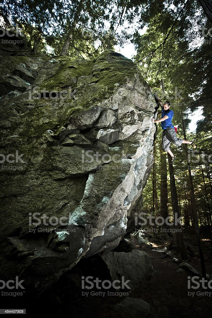 Hanging on a rock royalty-free stock photo