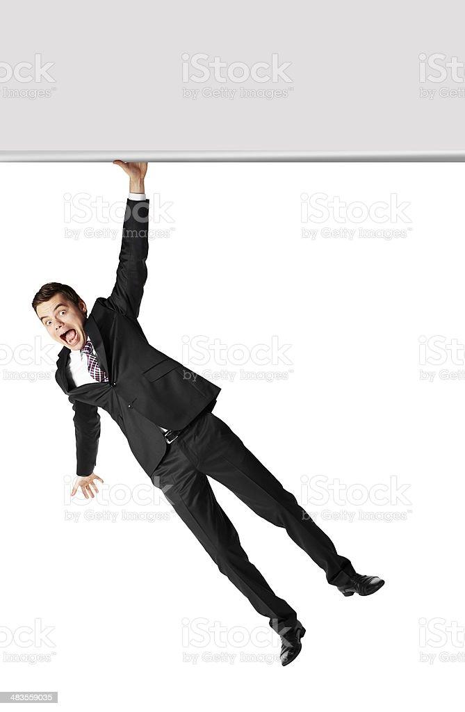 Hanging on blank billboard stock photo