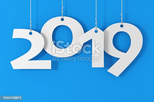 istock Hanging on Ropes New 2019 Year Sign. 3d Rendering 1044743974