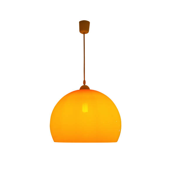 Hanging orange lamp isolated with clipping path Hanging orange lamp isolated on white background with clipping path chandelier stock pictures, royalty-free photos & images