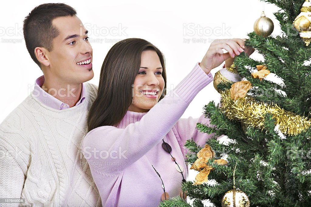 Hanging ornaments on a christmas tree royalty-free stock photo