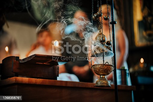 Smoke from incense at orthodox church