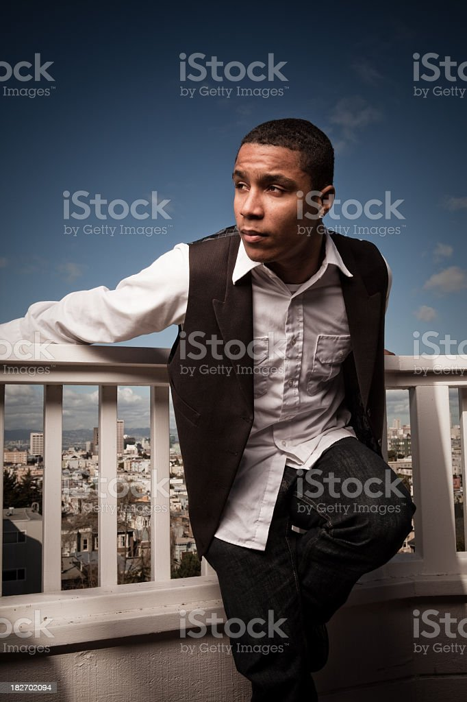 Hanging out on the roof balcony royalty-free stock photo