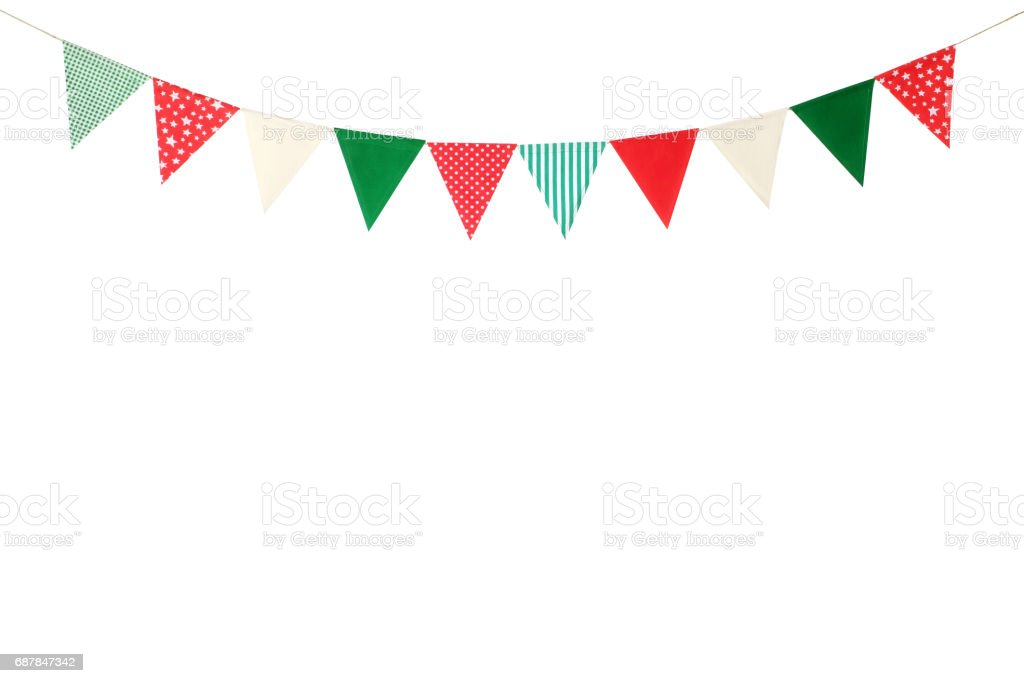 Hanging party flags isolated on white background, decorate items for festival, celebrate event, Christmas and new year background stock photo