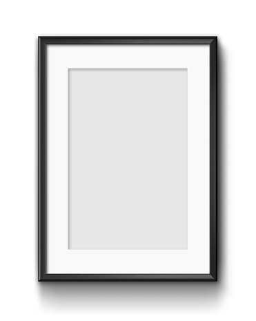 A hanging poster frame mockup, isolated on white background.