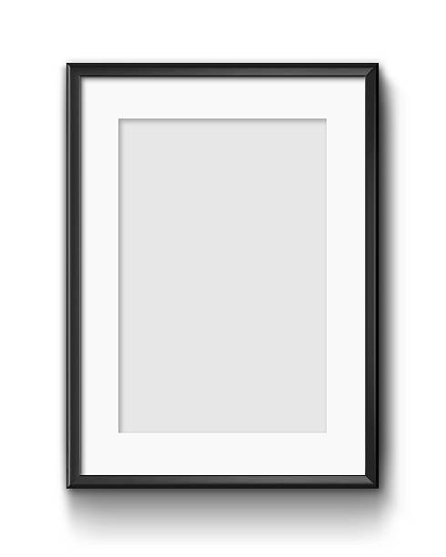 Hanging Poster Frame Isolated On White Background stock photo