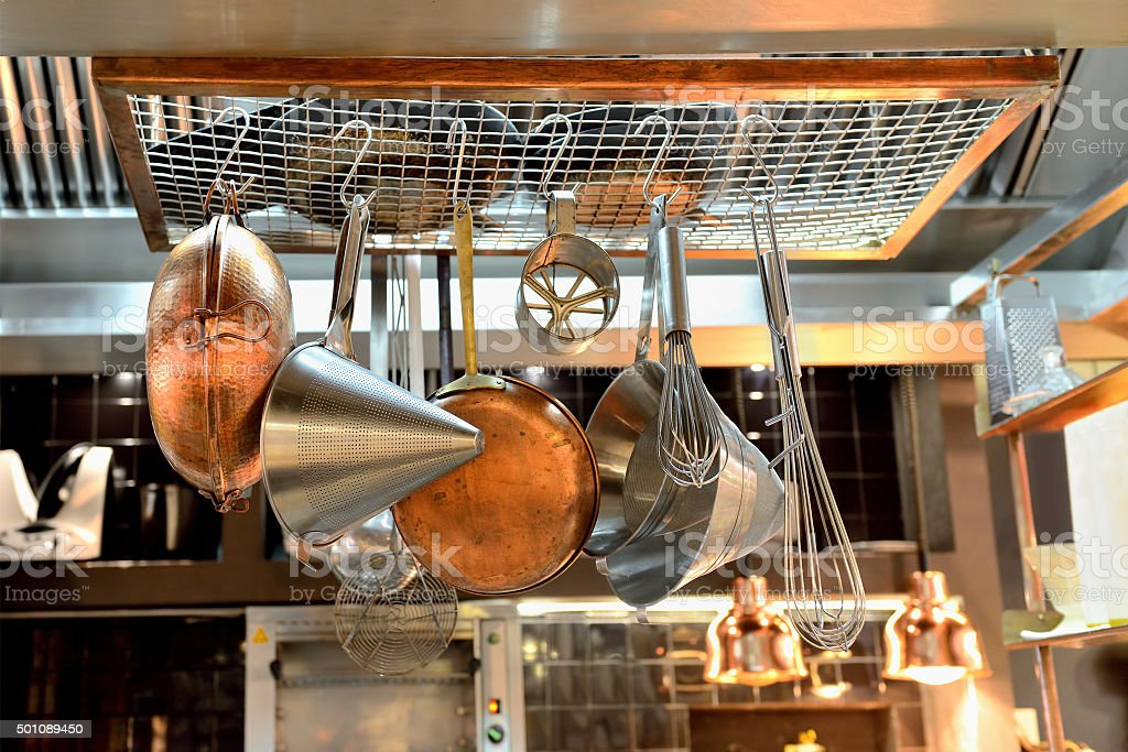 Hanging pots and pans stock photo