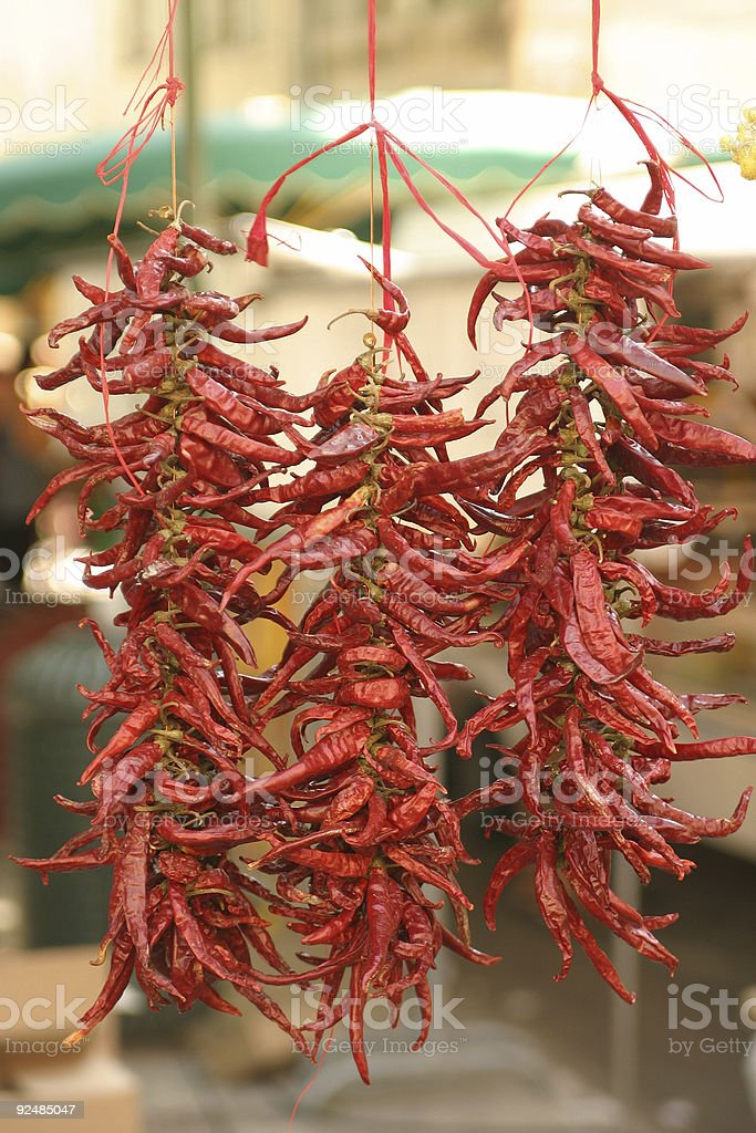 Hanging red peppers royalty-free stock photo