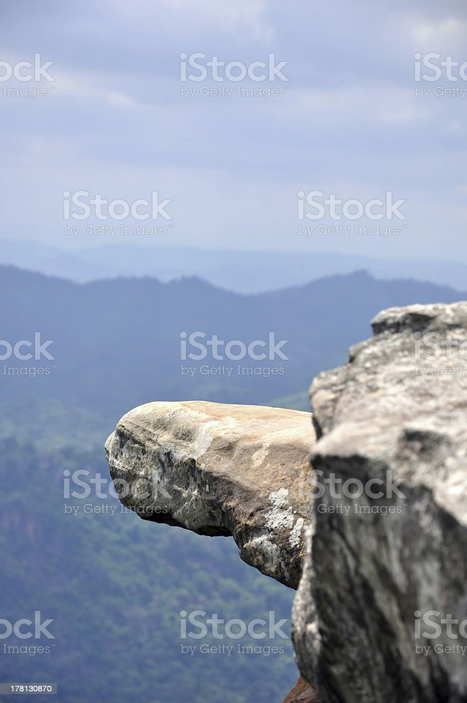 Hanging Rock jutting out of the cliff scenic royalty-free stock photo