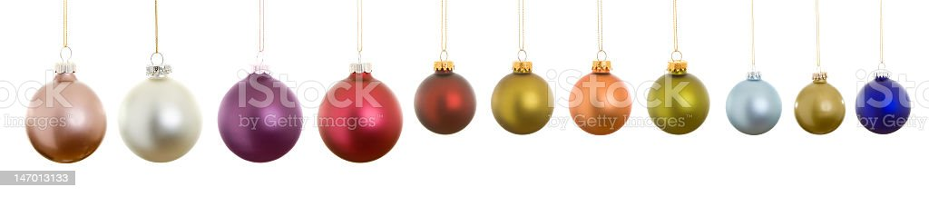 XXXL  Hanging Row Collection Matte Christmas Balls, Isolated White Background royalty-free stock photo
