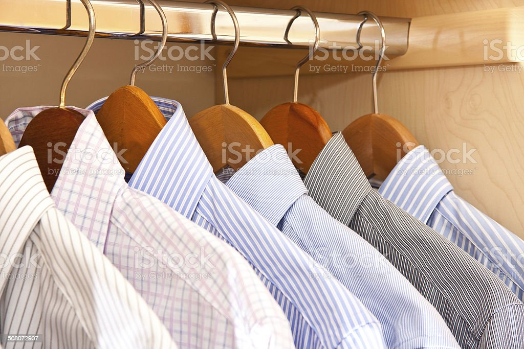 hanging shirts stock photo