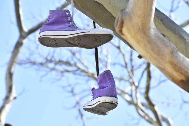 Hanging Shoes in an East Boston Skate Park stock photo