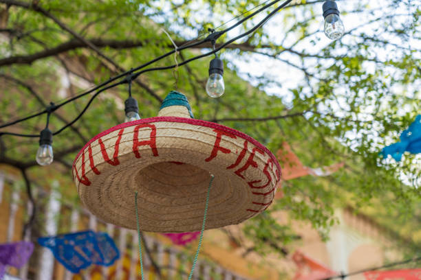 Hanging Sombrero with Festive Decoration Outdoors Close Up stock photo