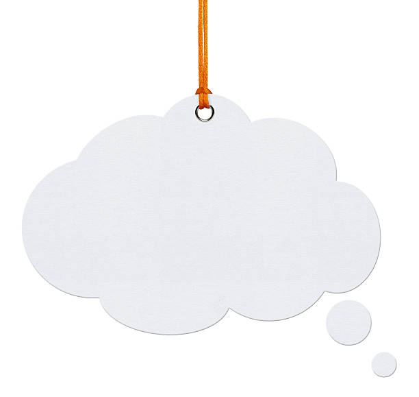 hanging speech bubbles (clipping path) - thought bubble stock photos and pictures