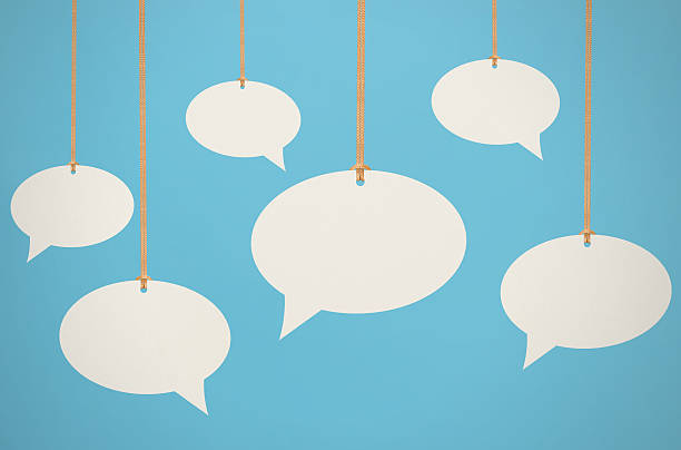 hanging speech bubbles - thought bubble stock photos and pictures