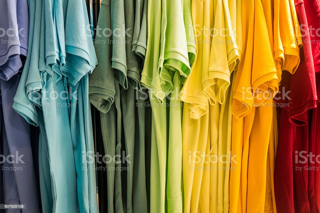 Hanging T Shirts stock photo