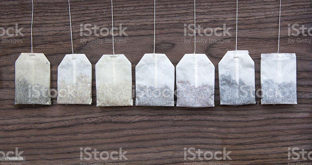 Hanging tea bags stock photo