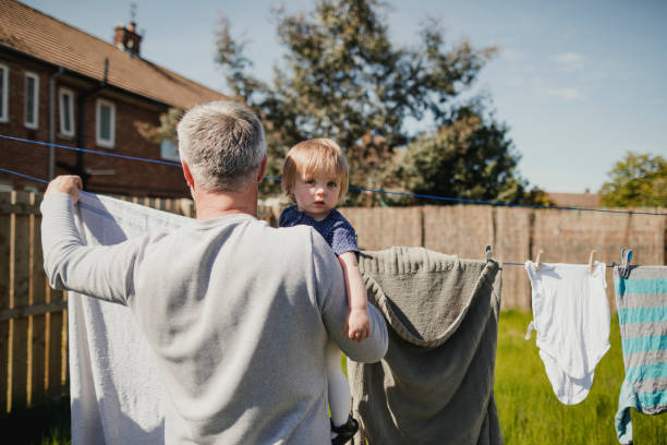 Hanging the Washing Out stock photo
