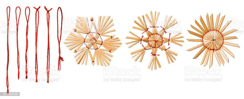 Hanging Thread, Christmas Snowflake Straw Decoration, Snow Flake stock photo