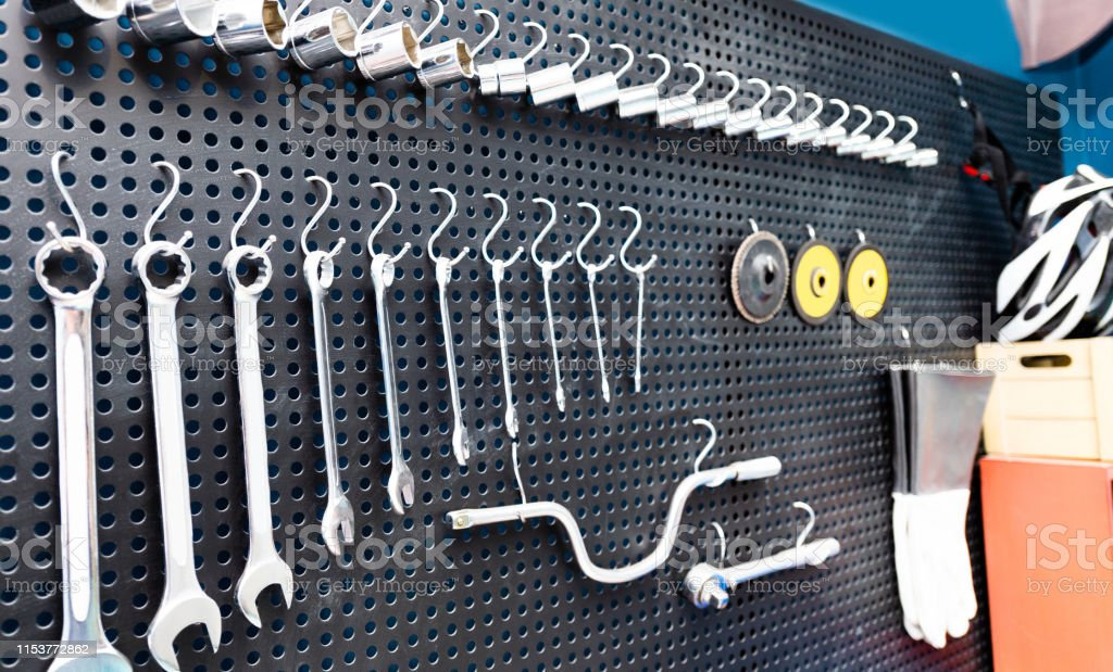 Hanging Tools Hang On The Wall In A Garage Stock Photo ...