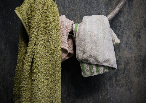 Hanging Towel And Cotton On Shower Wire Stock Photo - Download Image Now