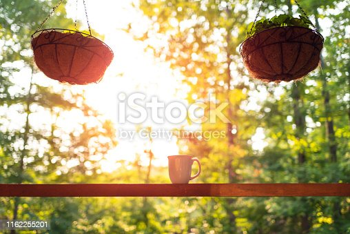 Hanging two potted plants in spring with bokeh background on porch of house with sunrise sun and coffee mug on wooden cabin cottage
